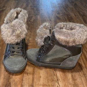 Aldo Olive Faux Fur Sneaker Wedge